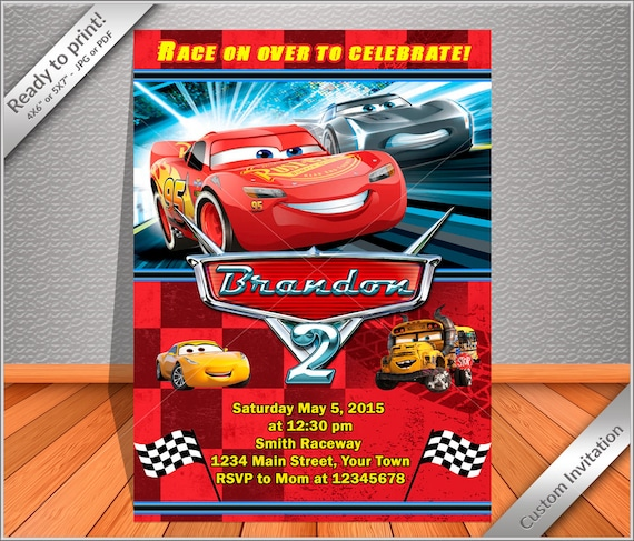 50 OFF SALE - Cars Birthday Invitation, The Lightning MCQUEEN