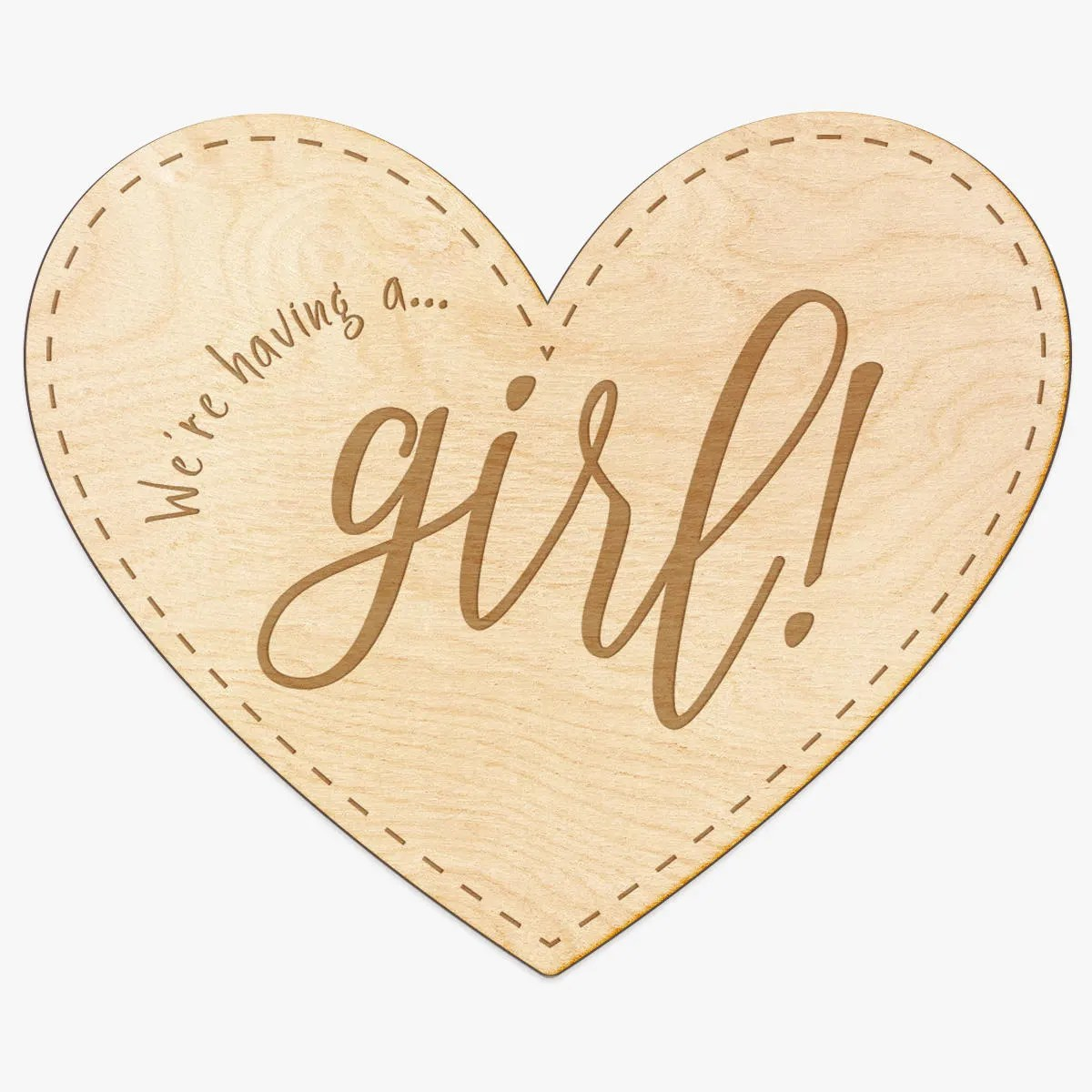 Baby Girl Announcement Heart Engraved Wood Sign New Baby Etsy