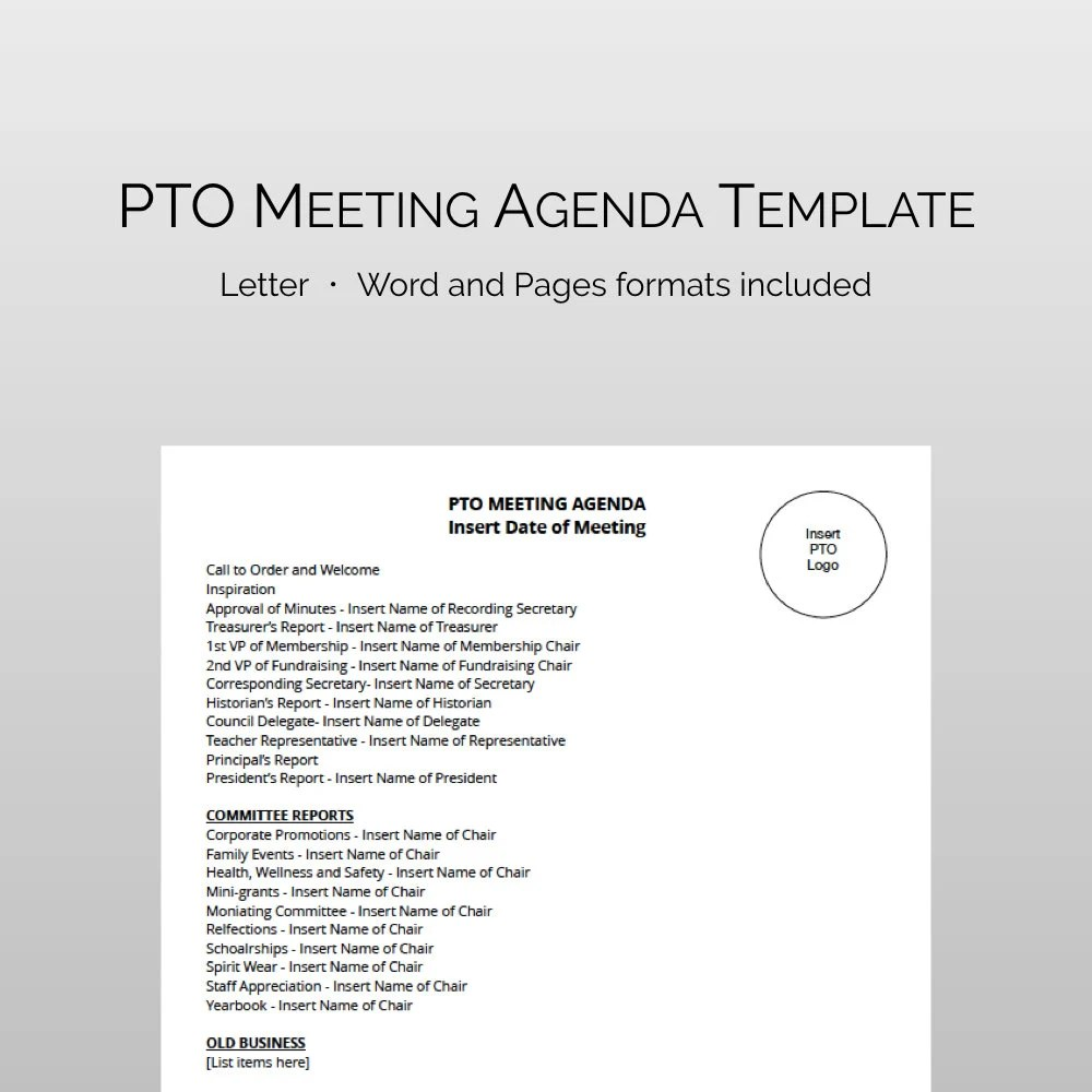 PTA / PTO Meeting Agenda Template  Fully Editable and Instant Etsy