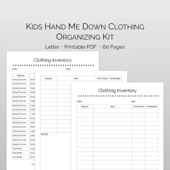 Clothes Organizing Storage Inventory Printable Kit  Etsy