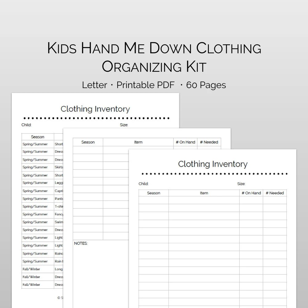 Kids Hand Me Down Clothes Organizing Storage Inventory Etsy