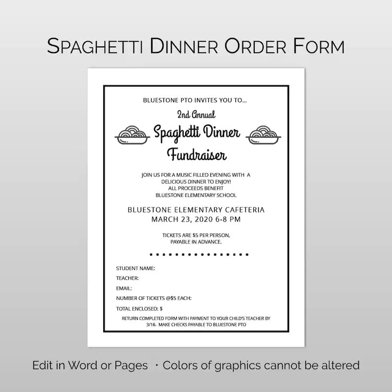 Editable customizable Spaghetti Dinner Fundraiser Flyer Etsy