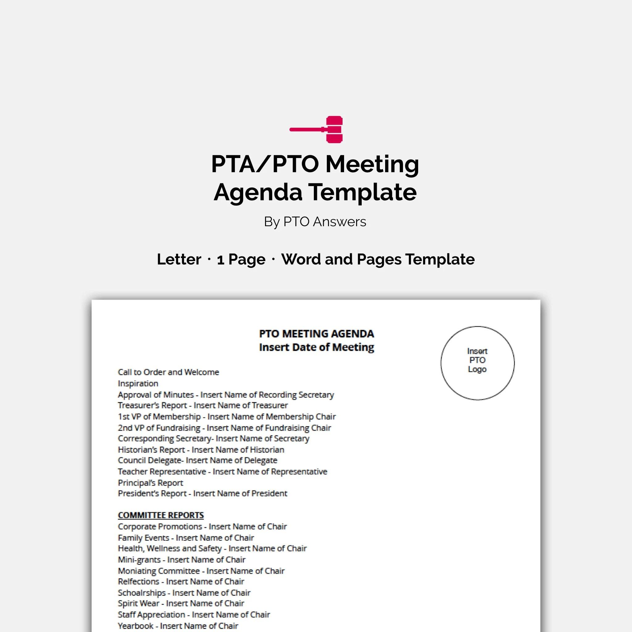 PTA / PTO Meeting Agenda Template  Fully Editable Instant Etsy