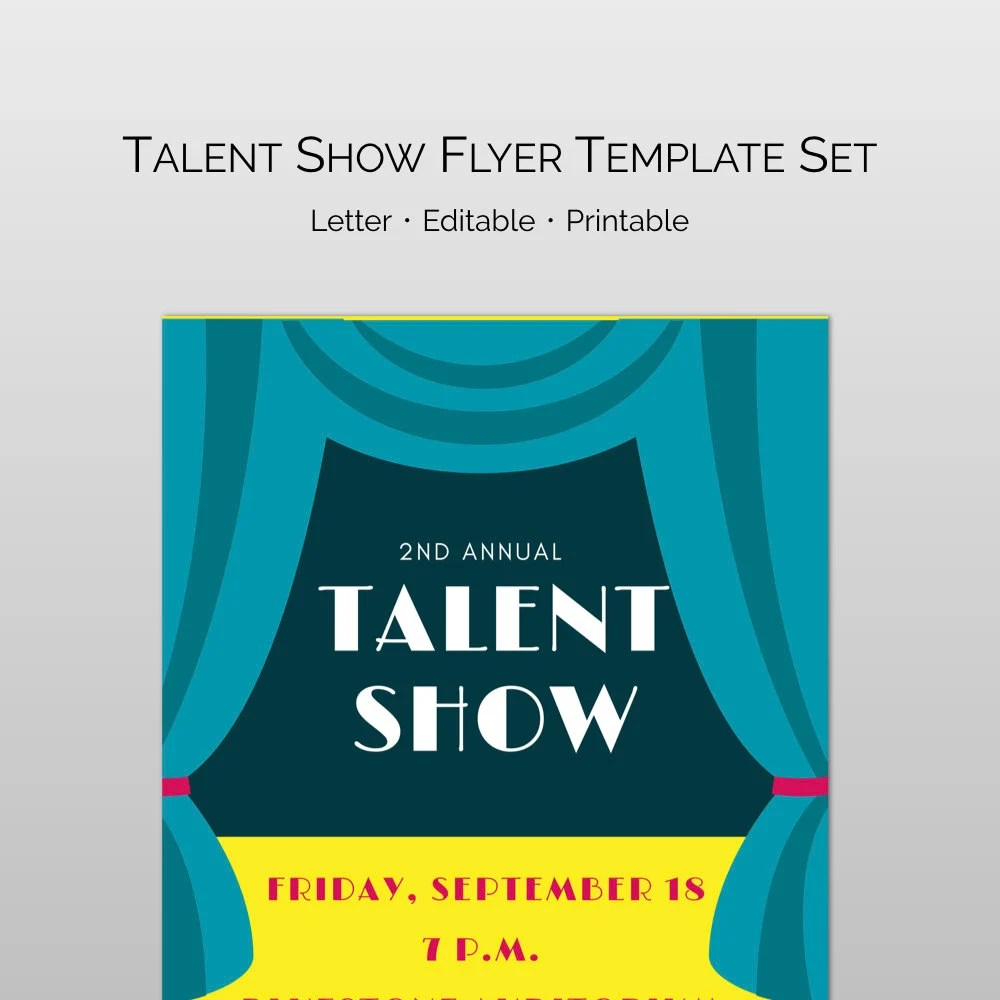 Editable and customizable Talent Show Flyer Word and Pages Etsy