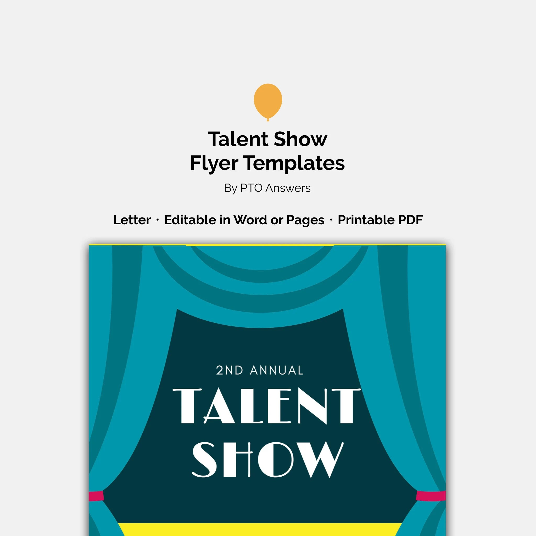 Talent Show Flyer Word and Pages Template Set for PTA PTO Etsy