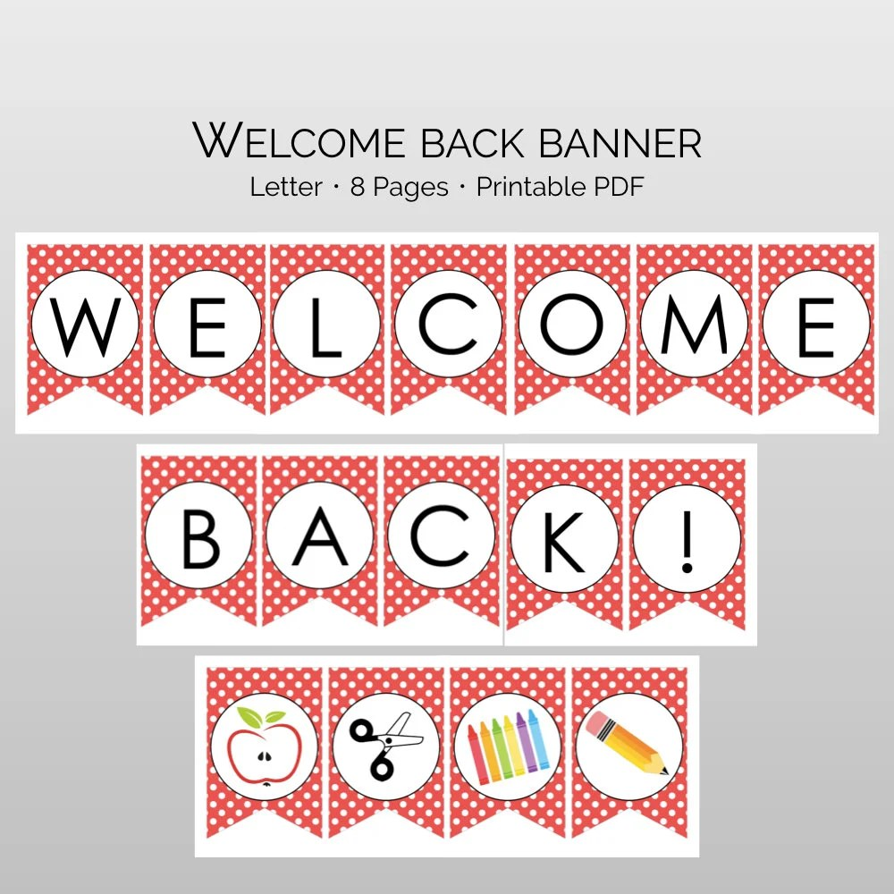 Welcome Back to School Printable Banner Sign perfect for Etsy