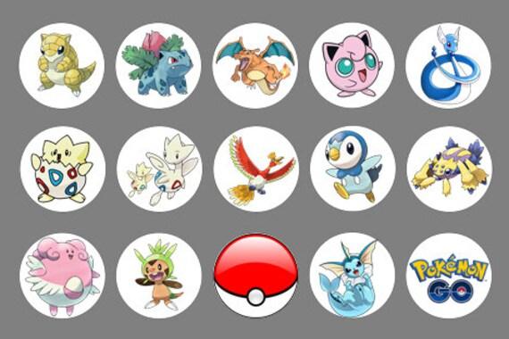 Pokemon Go BUTTONS Image, 2 1/4 in Pokemon CUPCAKE Template, SIZE 2 - pokemon template
