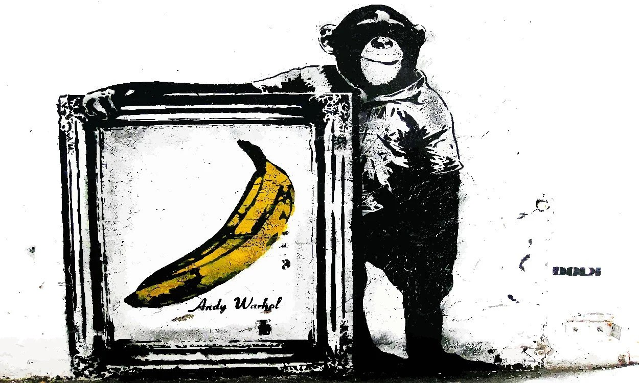 Banksy Canvas Art Banksy Canvas Monkey Banana Banksy Wall Art Canvas Print Gallery Wrapped Hxw