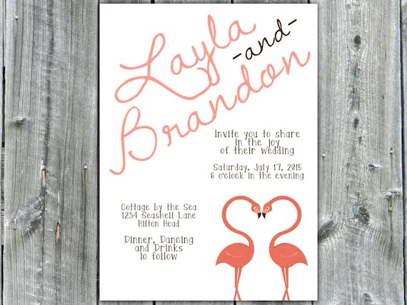 Wedding Invitation Casual Wedding Invite Pink Flamingos