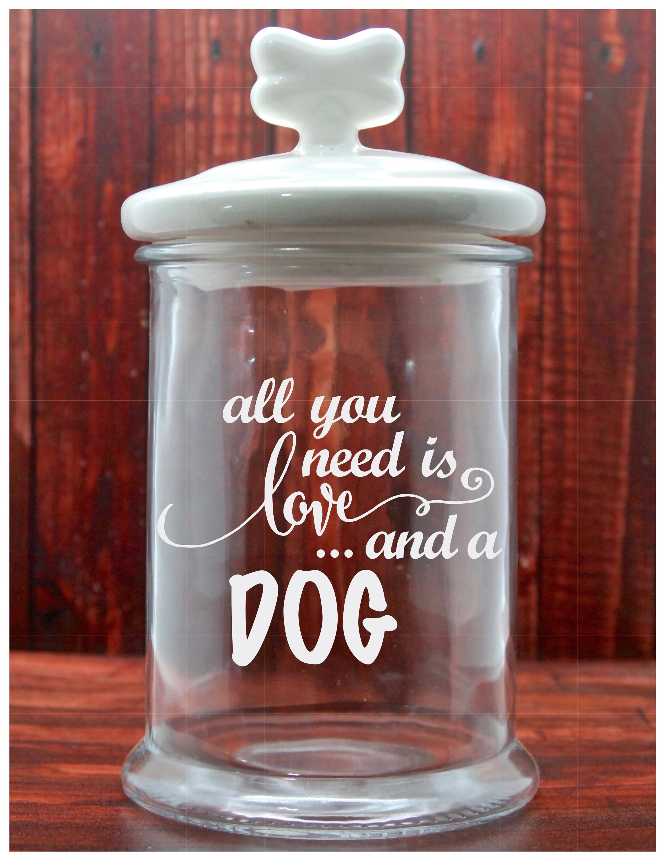Container Haus Kanada Glass Etched Dog Treat Jar All You Need Is Love And A Dog Tinted Bronze Custom Glass Etching Etched Glass Gifts Pet Treat Jar