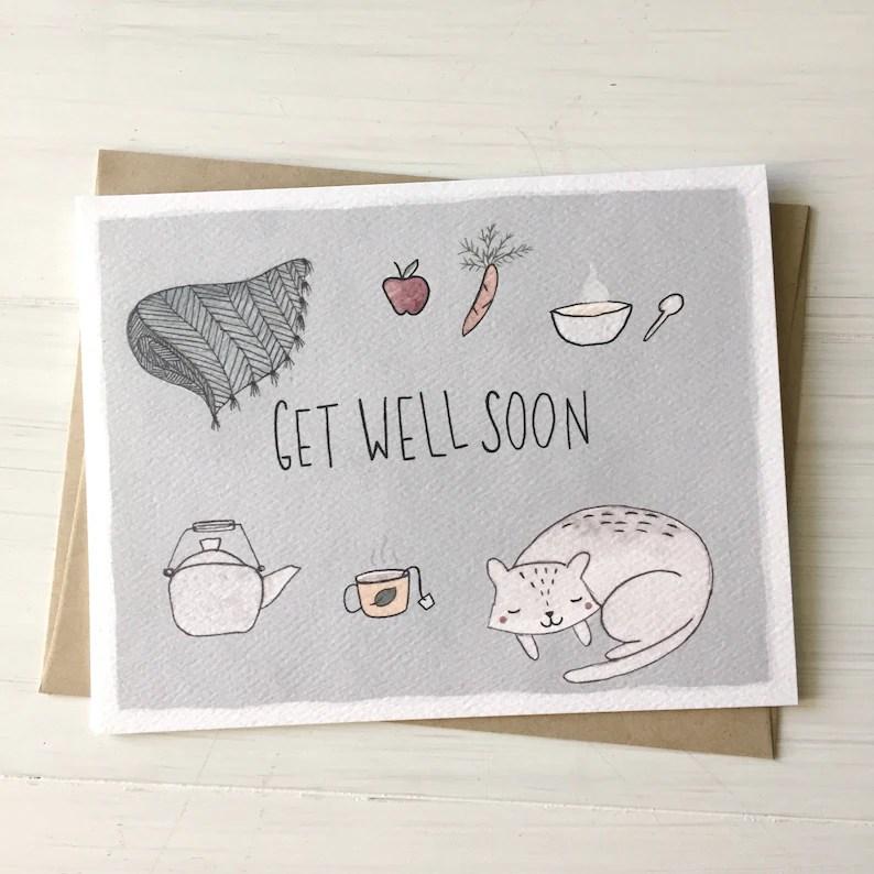 Get Well Soon Get Well Card Get Well Soon Card Feel Better Etsy