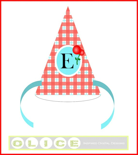 Red Gingham party hat, plaid birthday party hat template, paper