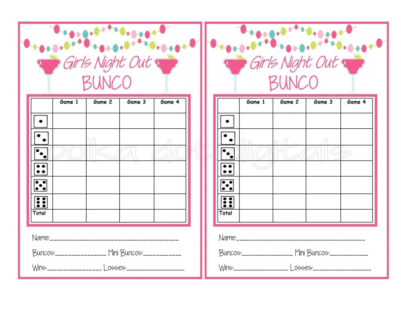 Buy 2 Get 1 Free MARGARITA GIRLS NIGHT Bunco Score Card Sheet - bunco score sheets template