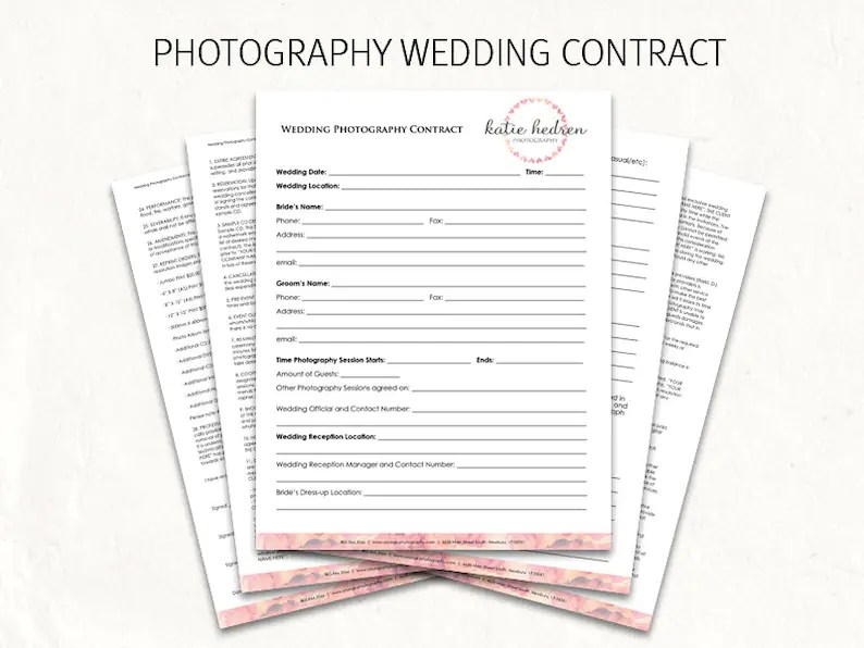 Wedding contract wedding photography contract template Etsy