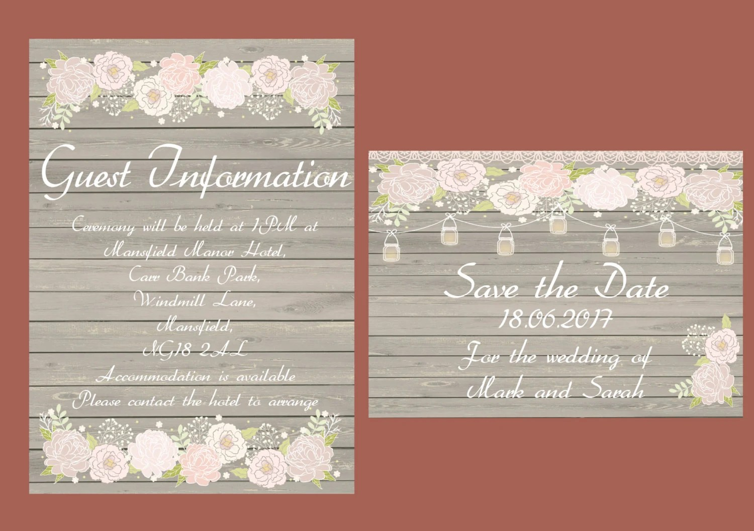 Mason Jar Rustic Wood Printable Wedding Invitation
