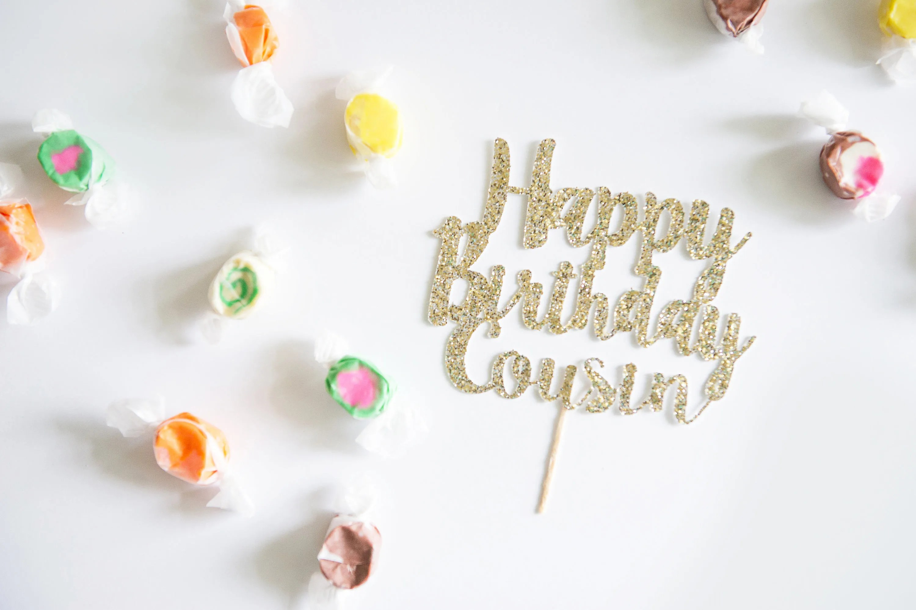 Coussins Decoration Happy Birthday Cousin Cake Topper Glitter Party