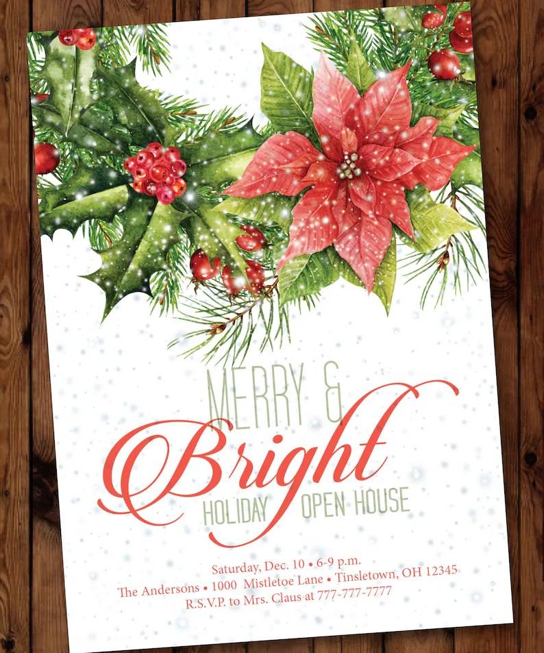 Christmas Party Invitation Holiday Open House Invitation Etsy