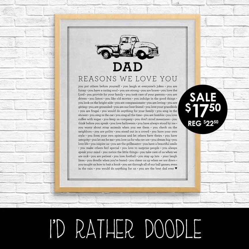Dad Reasons We Love You Father Reasons We Love You Etsy