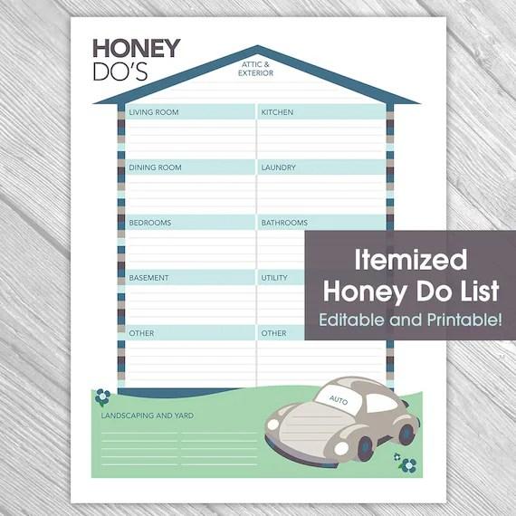 Printable Editable Honey Do List Things to Do List Home Etsy