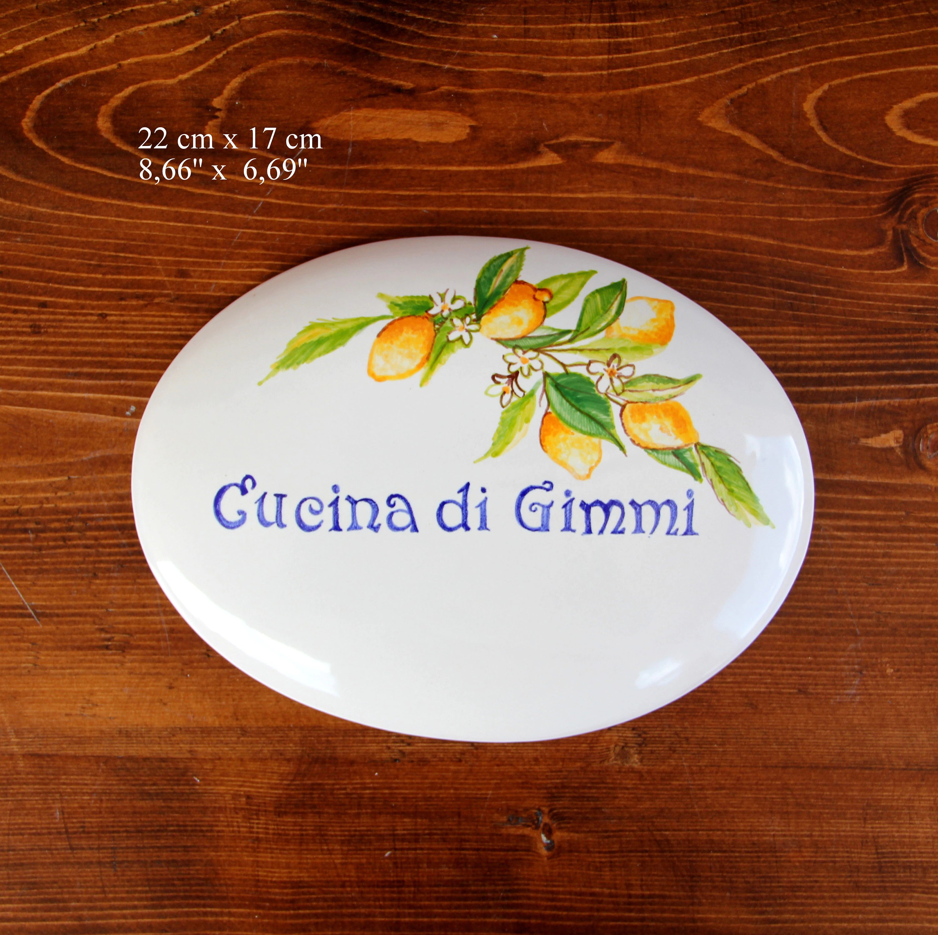 Cucina Kitchen Sign Italian Ceramic Lemons Plaque Kitchen Door Lemon Plate Custom
