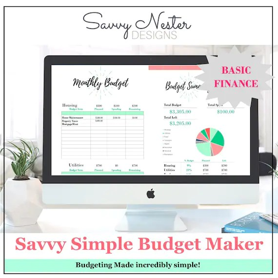Finance budgeting monthly planner 2018 expense spreadsheet Etsy