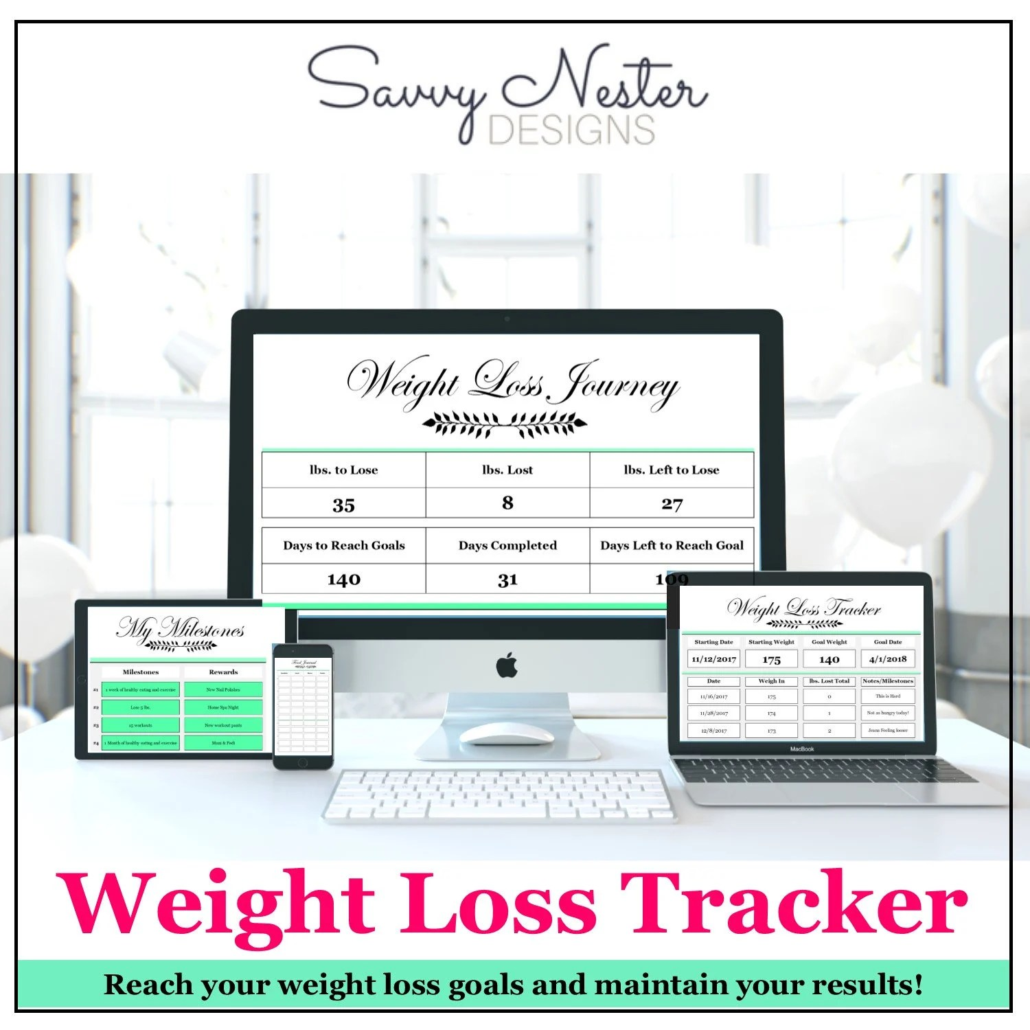 Weight loss tracker diet tracker journal food diary goal Etsy