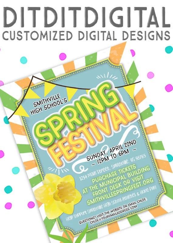 Spring Festival Spring Fling 5x7 Invite 85x11 Flyer Etsy