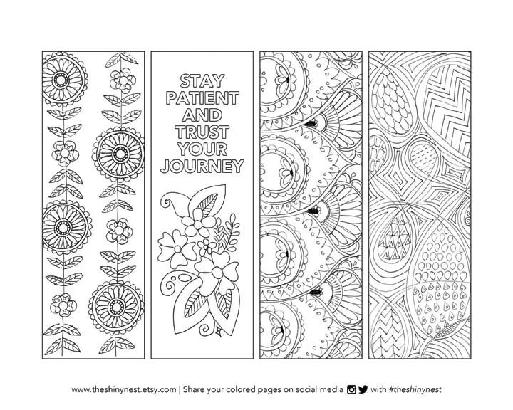 Coloring Bookmarks, Printable coloring page, Printable Bookmark - bookmark coloring pages