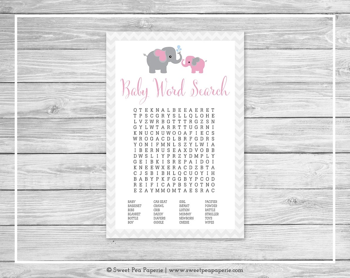 Elephant Baby Shower Baby Word Search Game - Printable Baby Shower