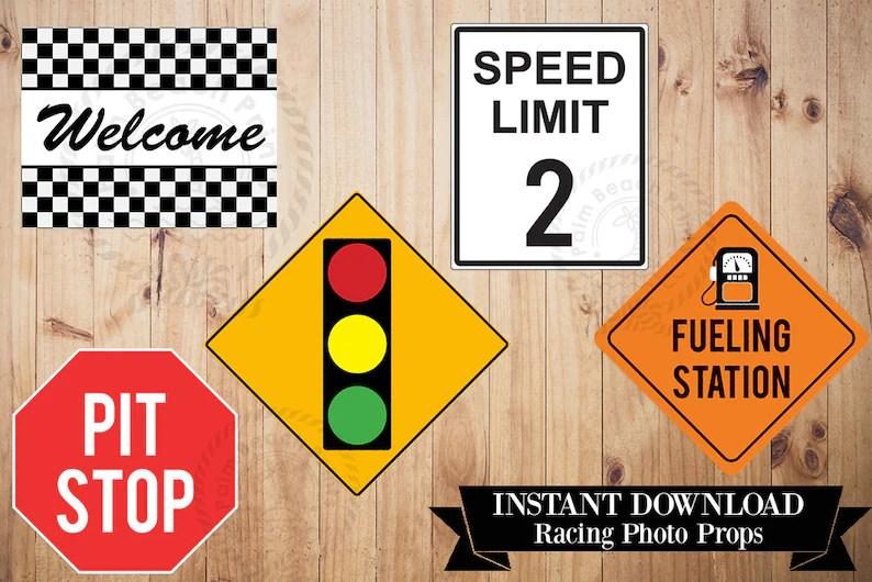 Racing Photo Props Printable Signs Printable Racing Signs Etsy