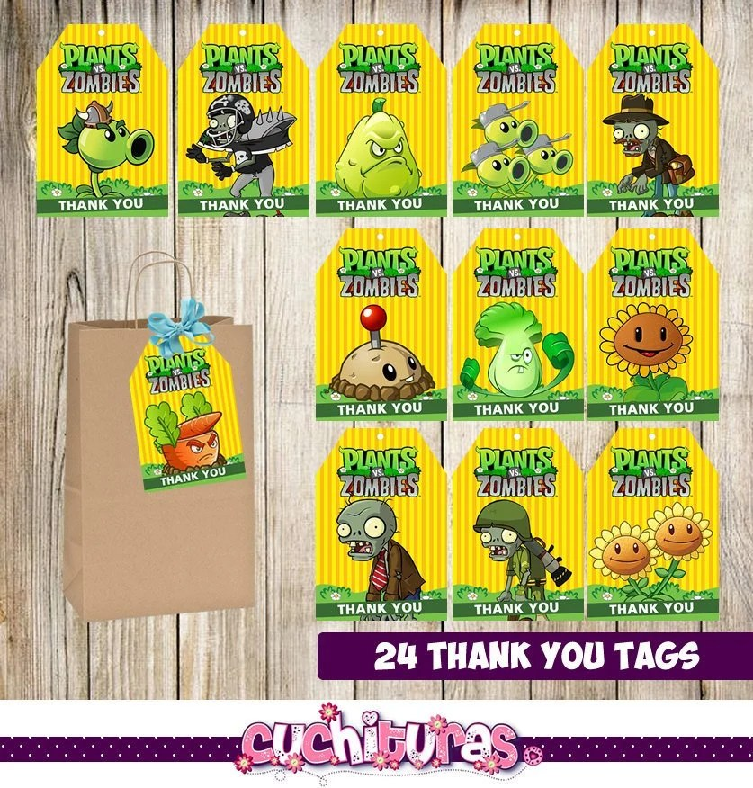 Plants vs Zombie Thank you Tags instant downloadPrintable Etsy