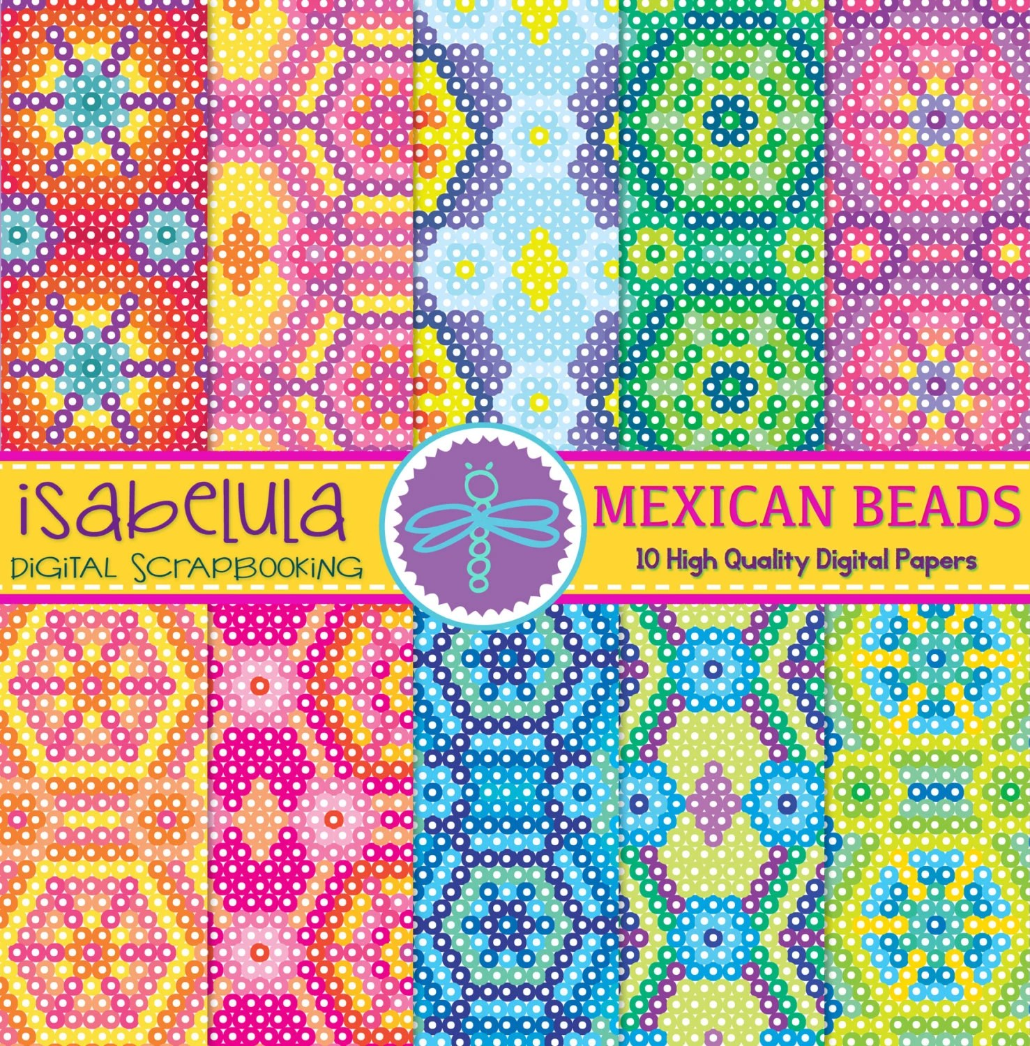 Arte Huichol For Sale Mexican Beads Huichol Art 10 Digital Papers Colorful Pattern Printable Background In Brights Hq Pink Yellow Green And Blue
