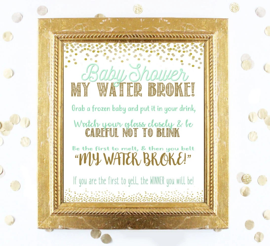 Baby Shower Game Printable MY WATER BROKE Mint Green Gold Etsy