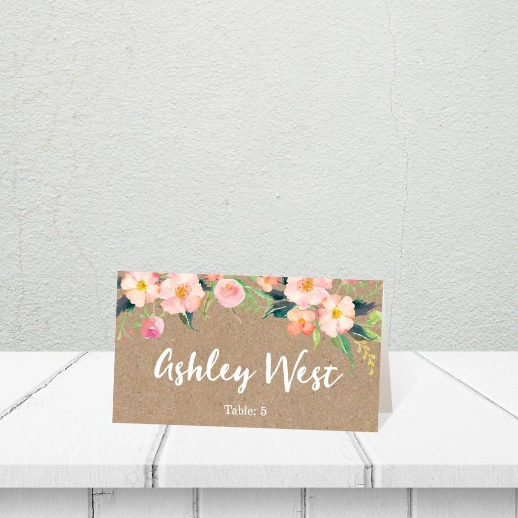 Place Cards Wedding Templates, Wedding Place Card Meal Choice, DIY