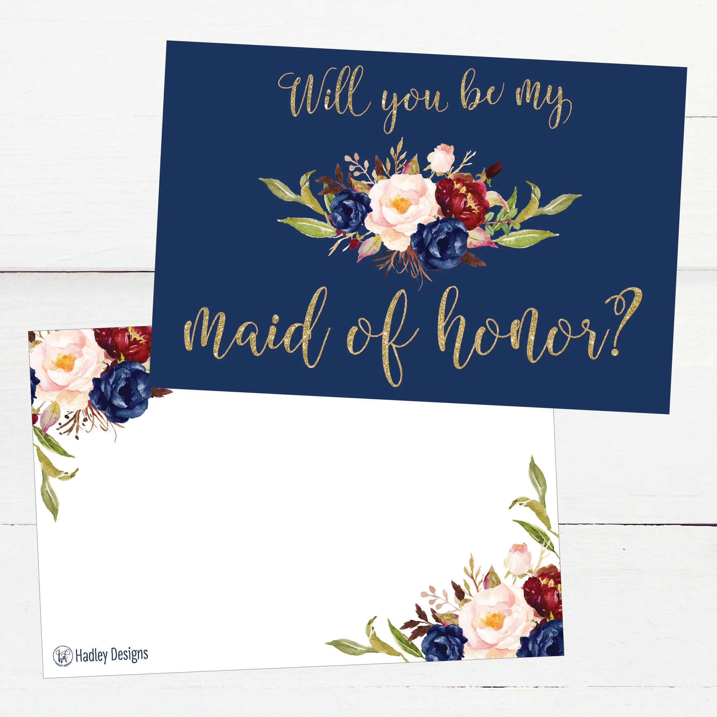 Printable Will You Be My Maid of Honor Card, Navy Floral Wedding