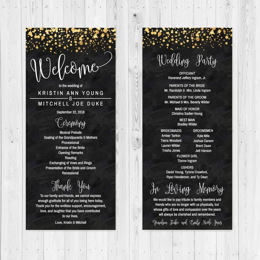 Black and Gold Glitter Dots Wedding Program, Wedding Programs