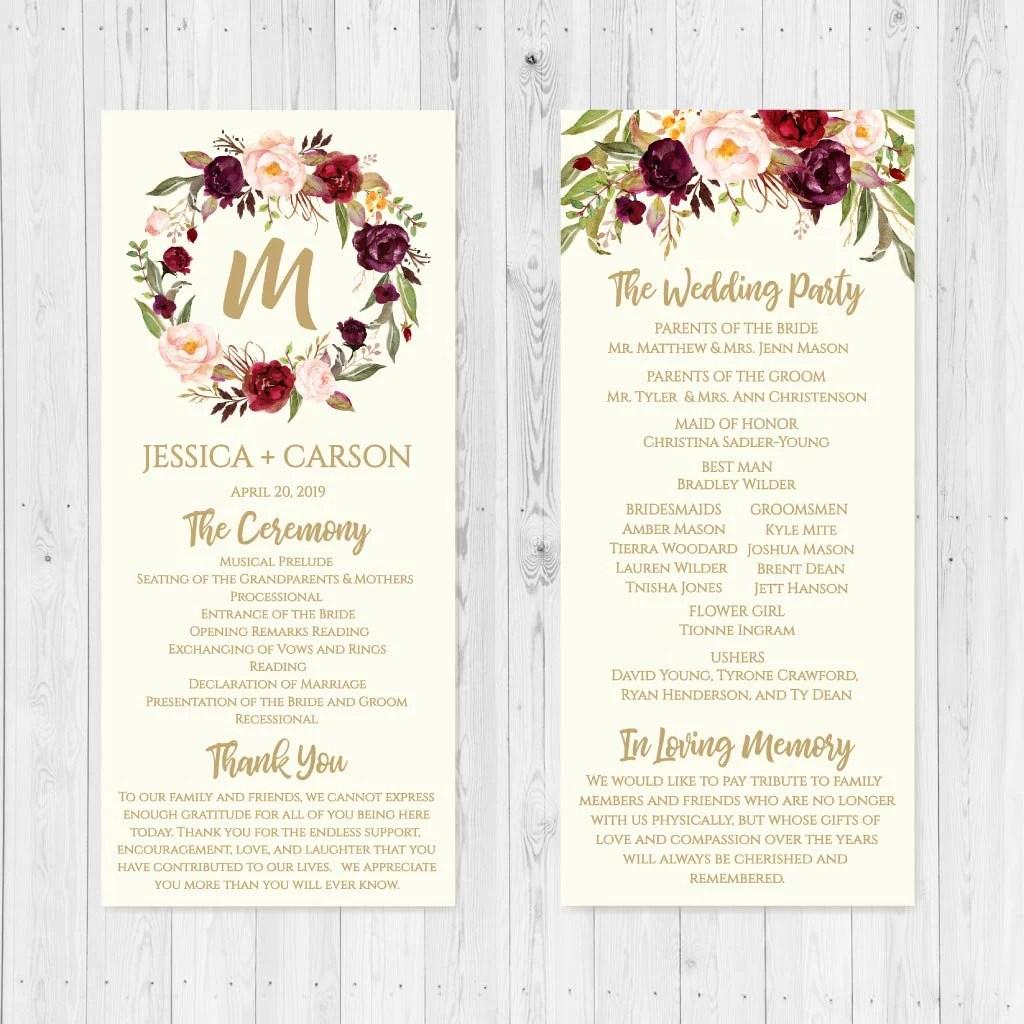 Cream Marsala Floral Wedding Program Wedding Programs Etsy