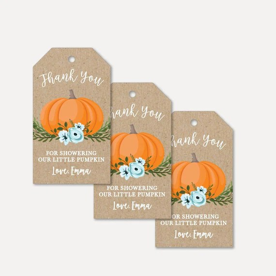 Pumpkin Boy Baby Shower Thank You Favor Tags Template Thank Etsy