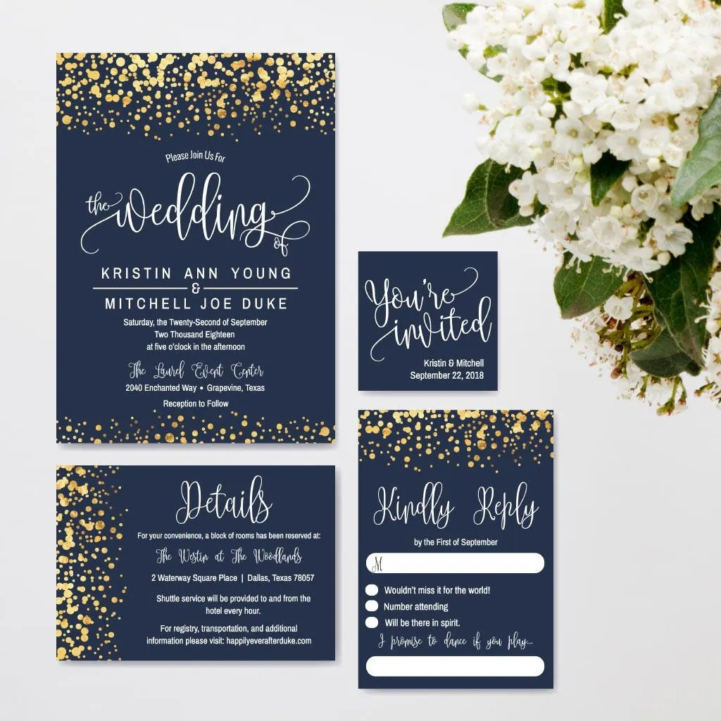 Navy and Gold Glitter Dots Wedding Invitation Suite Online Etsy