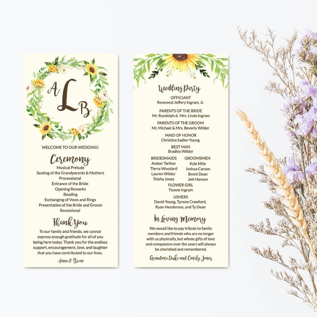 Wedding Program Download Editable Text, Wedding Ceremony Programs