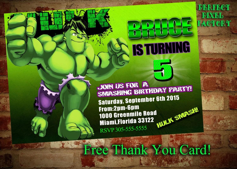 HULK BIRTHDAY INVITATION,avengers, Superhero,Bruce,Hulk,Marvel