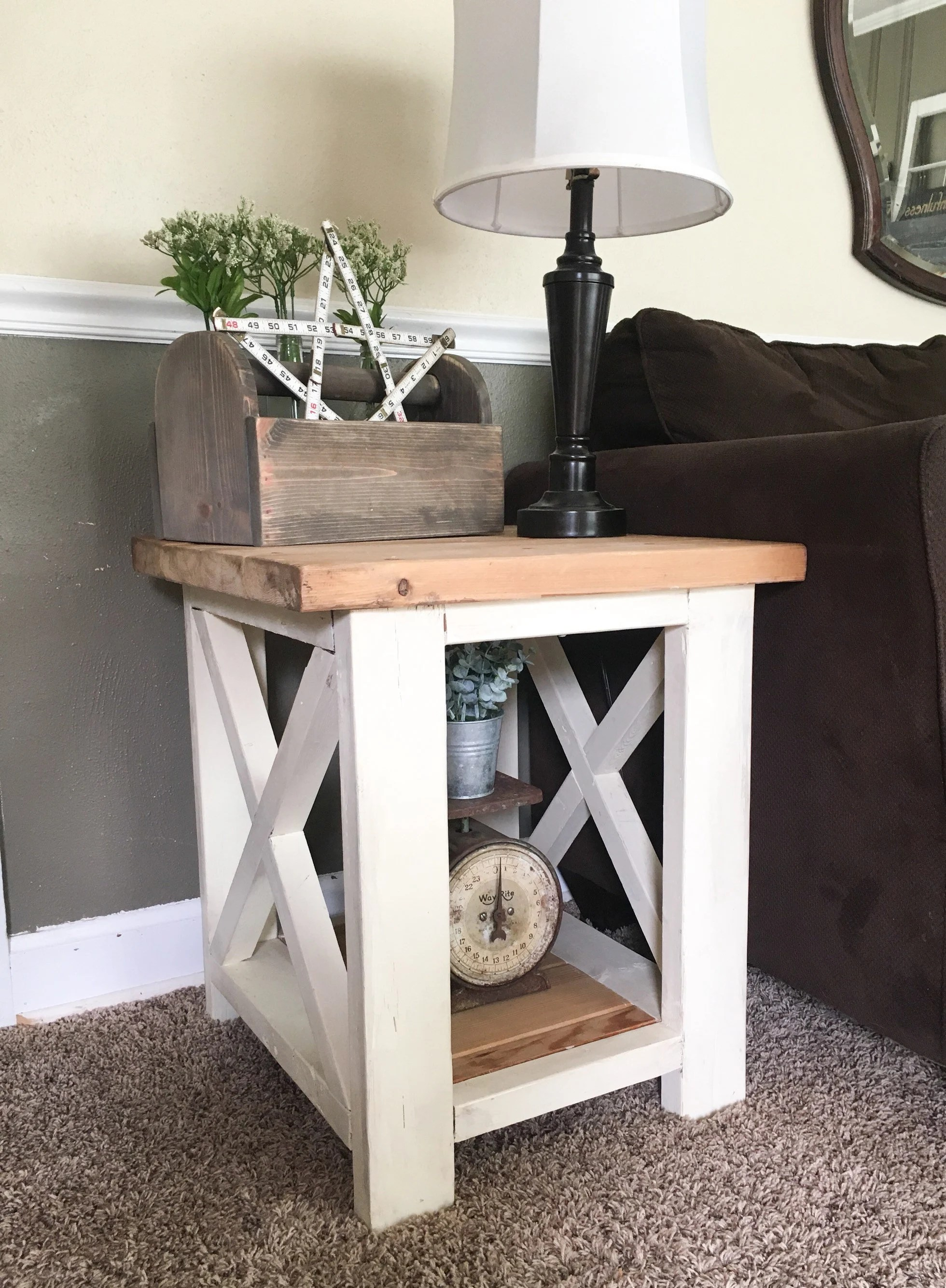 End Table For Living Room Custom Farmhouse End Table Rustic Side Table Living Room Table Bedroom Table