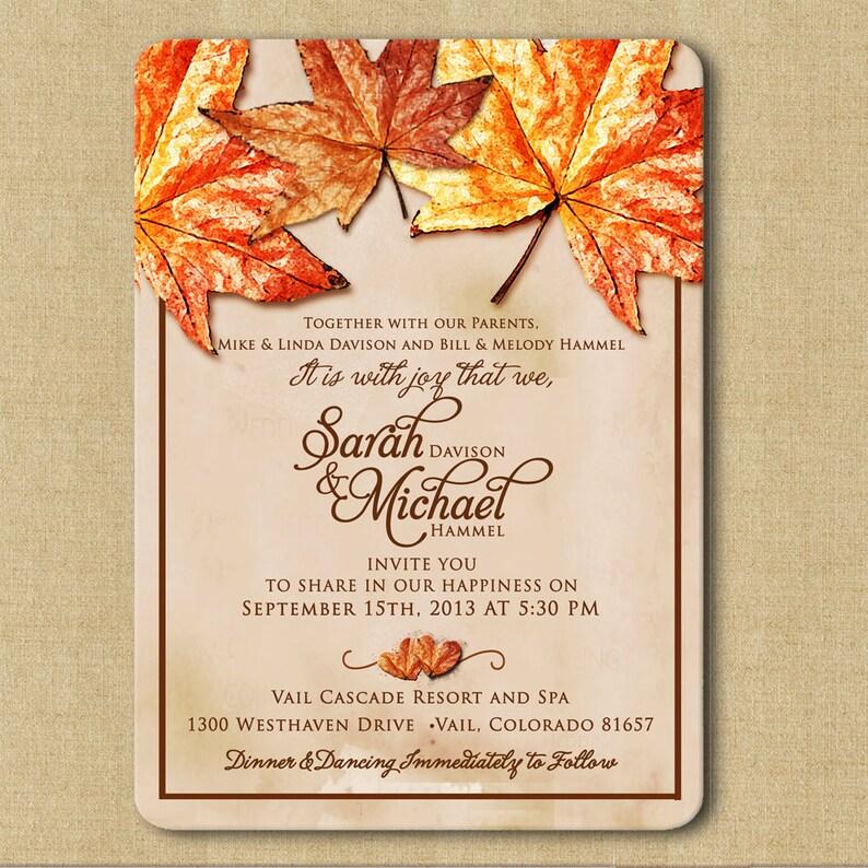 Autumn Leaves Fall Wedding Invitations Rustic Wedding Autumn Etsy