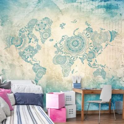 World Map In Teal Wall Mural Mandala World Map Wallpaper | Etsy