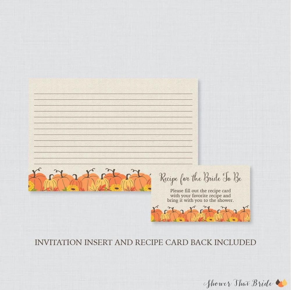 Pumpkin Bridal Shower Recipe Cards - Printable Rustic Bridal Shower