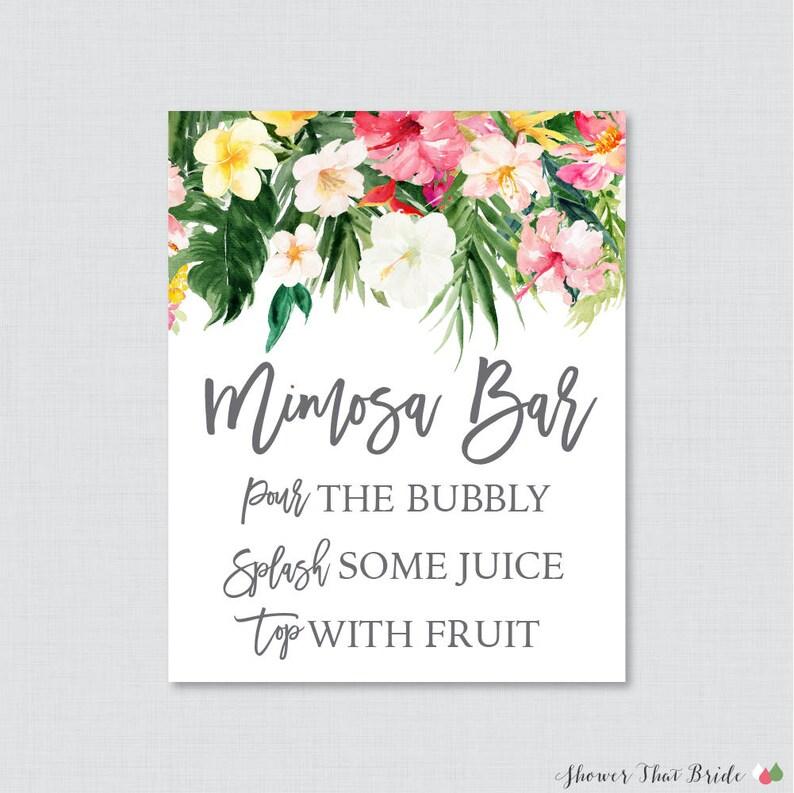 Printable Tropical Mimosa Bar Sign Hawaiian Flower Bridal Etsy