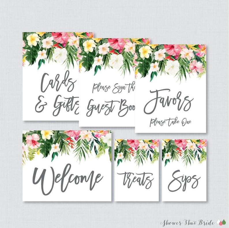 Tropical Bridal Shower Table Signs Printable Hawaiian Flower Etsy