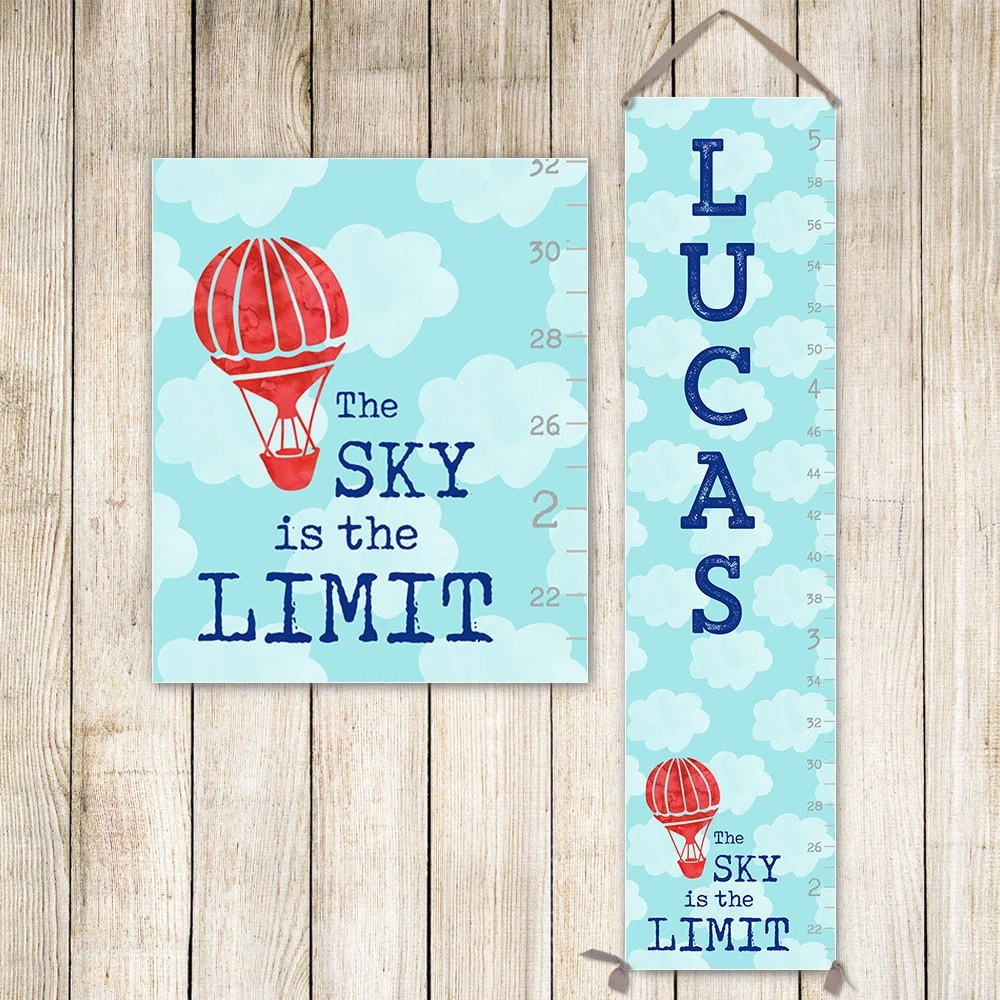 Boy Growth Chart Canvas Personalized Growth Chart Hot Air Etsy