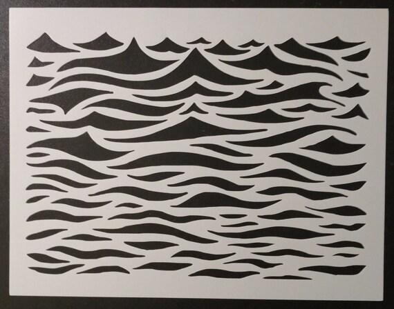 Ocean Waves Wavey Wavy Wave Water Pattern Custom Stencil FAST Etsy
