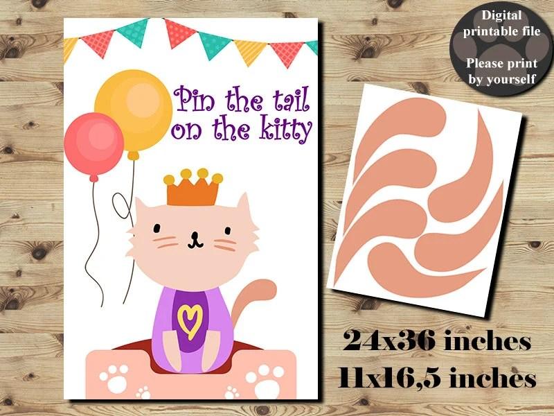 Pin The Tail On The Kitty Pin The Tail On The Cat Pawty Etsy
